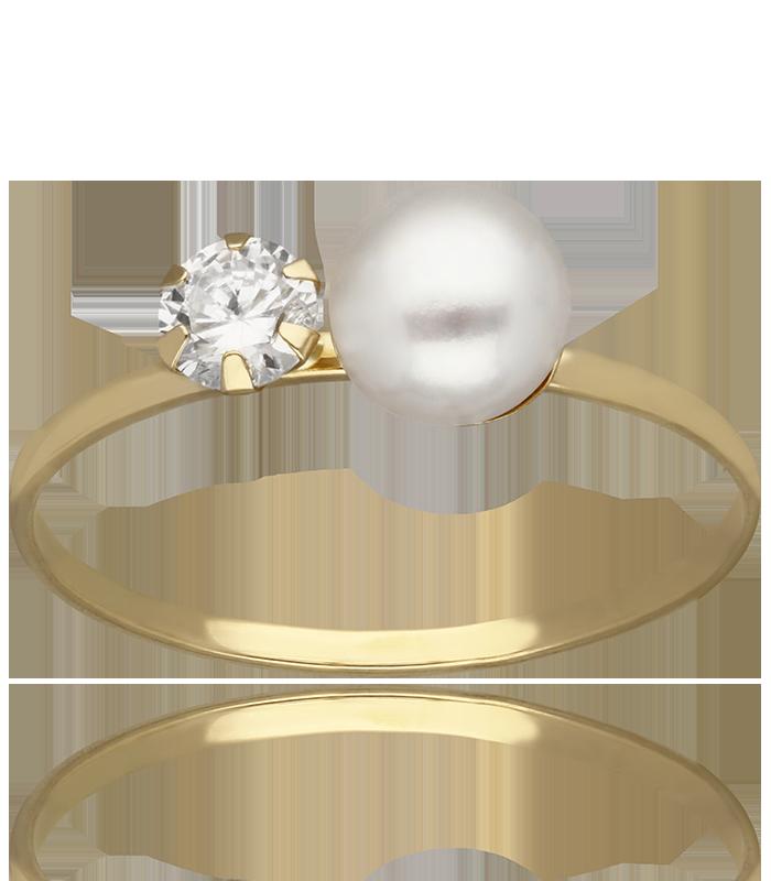 Anillo Oro Amarillo con perla y circonita