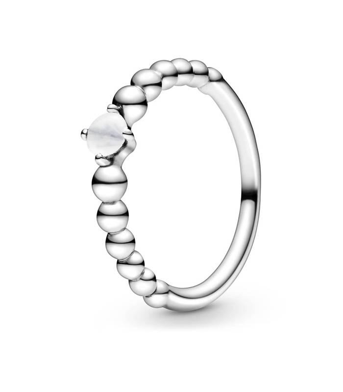 Anillo Pandora con Esferas y detalle Blanco
