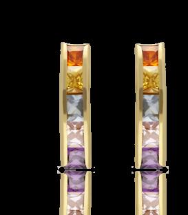 Pendientes Oro 18k Amarillo en Carril con piedras de colores