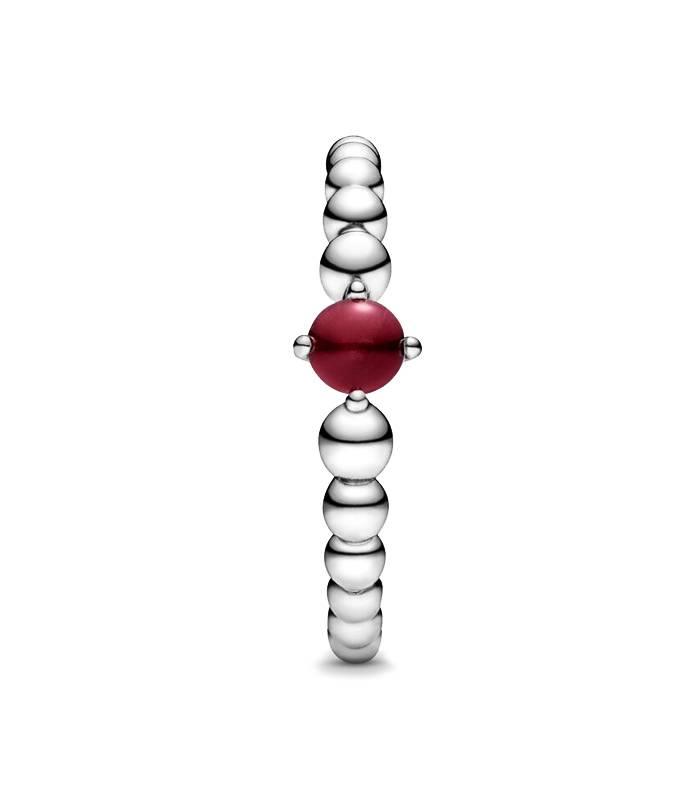 Anillo Pandora con Esferas y detalle Rojo oscuro