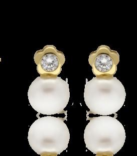 """Pendiente Oro Amarillo 18k """"Tu y yo"""" Flor con perla"""