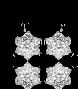 Pendientes Flor Oro Blanco con circonitas