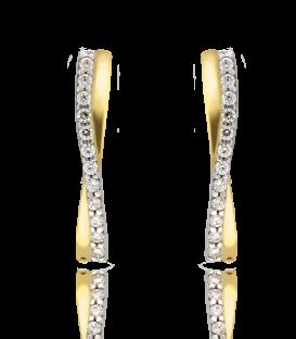 Pendientes Oro Amarillo 18k Ondas con circonitas