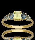 Sortija Oro Amarillo Piedras Semipreciosas en tonos verdes