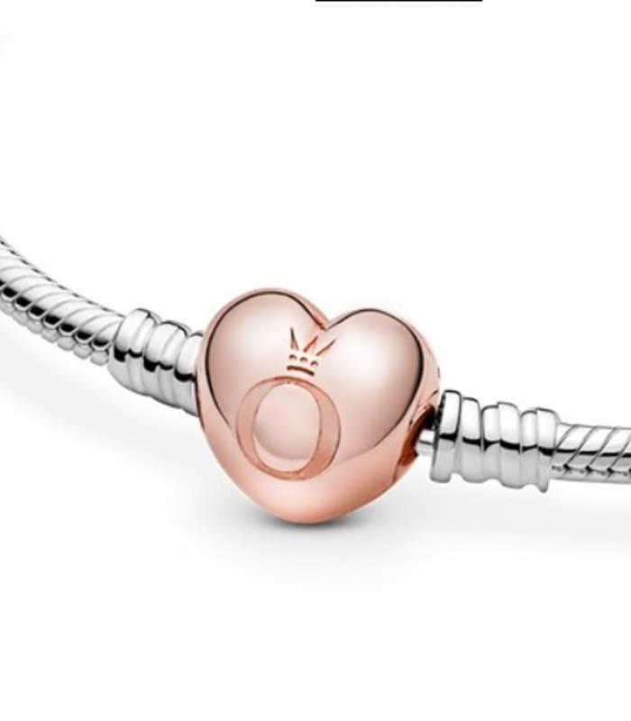 Pulsera Moments PANDORA Rose con cierre Corazón para charms 580719