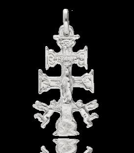 Colgante Cruz Caravaca Cristo y Virgen