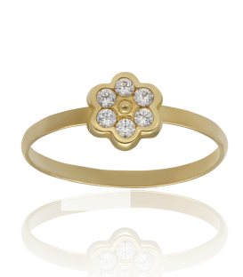 """Anillo """"Flora"""" oro 18k con circonitas y perla"""
