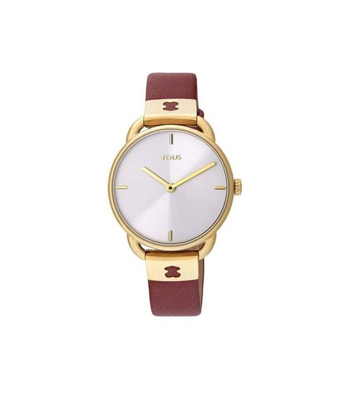 Reloj Let Leather de acero IP amarillo con correa de piel rubí 000351470