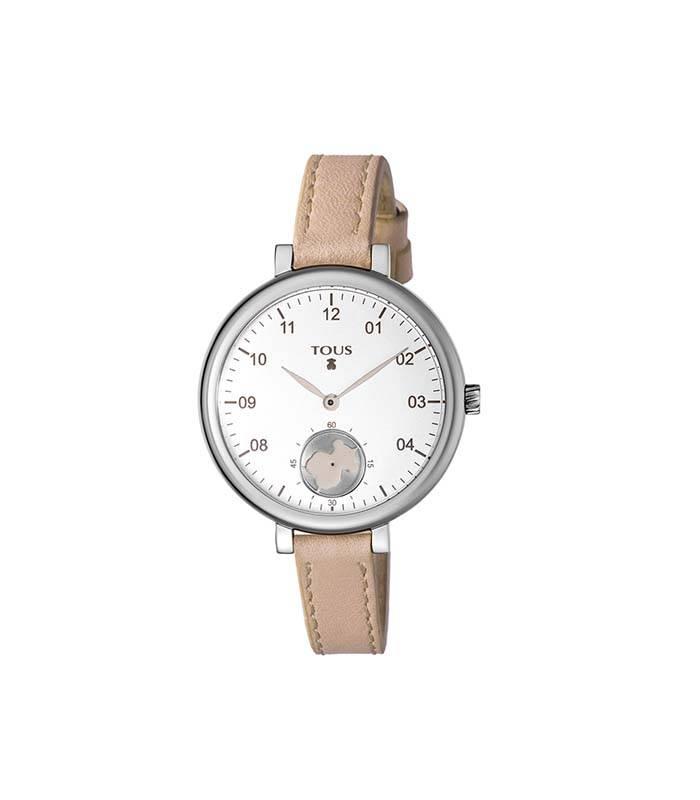 Reloj Spin de acero con correa de piel nude 600350435