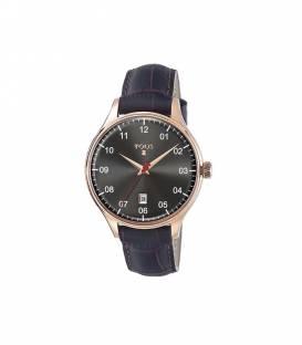 Reloj Grafito de acero IP rosado con correa de piel marrón 600350395