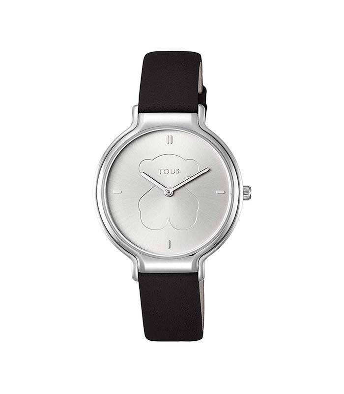 Reloj Real Bear de acero con correa de piel negra 900350350