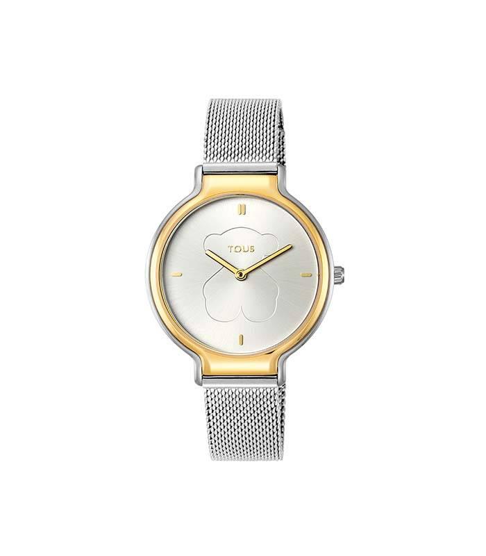 Reloj Real Bear bicolor de acero/IP dorado con correa Mesh 900350385
