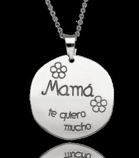 """Gargantilla Plata y placa """"Mamá te quiero mucho"""""""