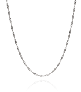 Cadena Singapur Oro Blanco. 40cm