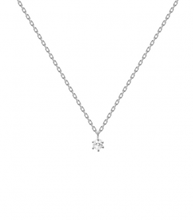 Collar Plata White Solitary CO02-060-U