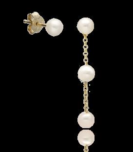 Pendientes Plata Dorada Largos con tres perlas