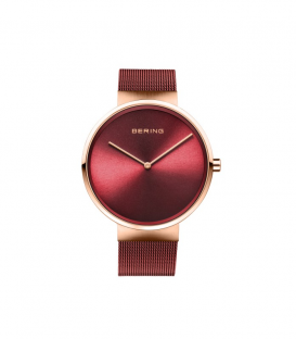 Reloj bering rojo con correa de malla milanesa y caja rosada 14539-363
