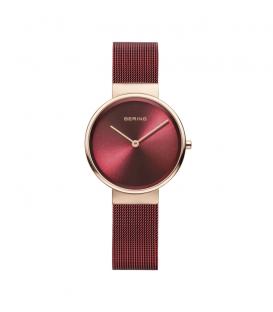 Reloj bering rojo con correa de malla milanesa y caja rosada 14531-363