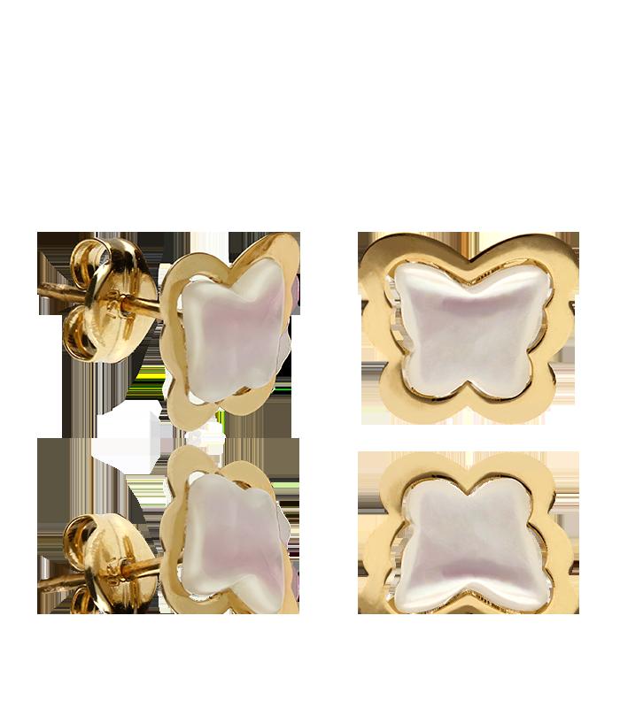 Pendientes oro rosa 18k y nacar mariposa niña