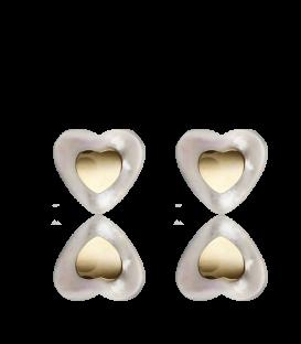 Pendientes oro 18k y nácar corazón