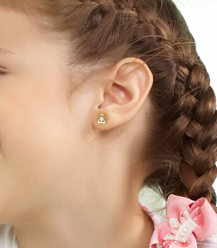 Pendientes Flor con Perlas