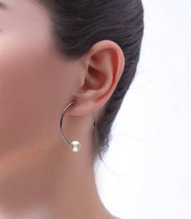 "Pendientes ""Ring pearl"" en Plata 1ª Ley"