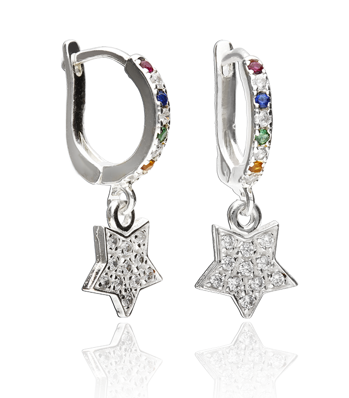 "Pendientes Plata de Aro ""Colors of Star"""
