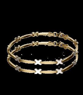 Pulsera de oro bicolor con diseño de cruces