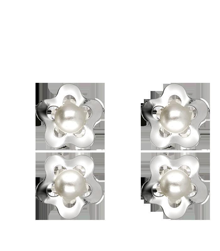 Pendientes Flor y Perlas