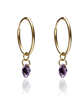 "Pendientes Aro Oro ""Purple Stone"""
