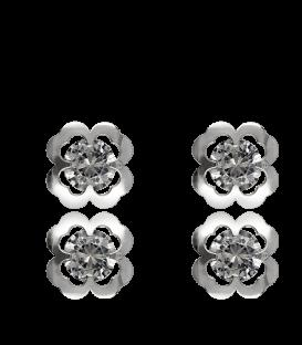 Pendientes Plata Flor con circonita