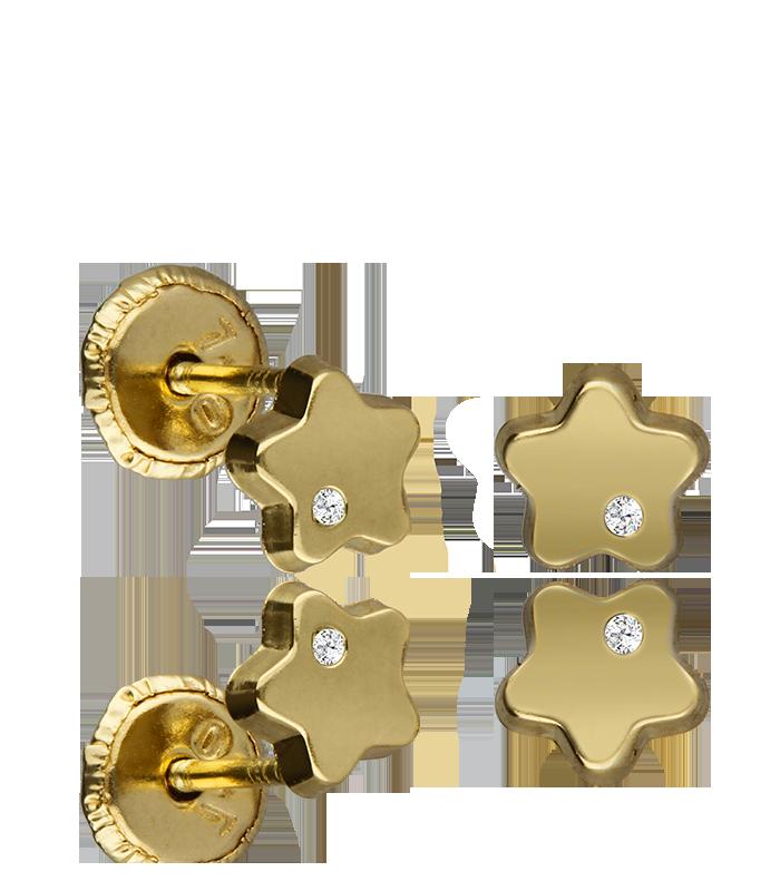 "Pendientes Oro 18k ""Gold Star"""