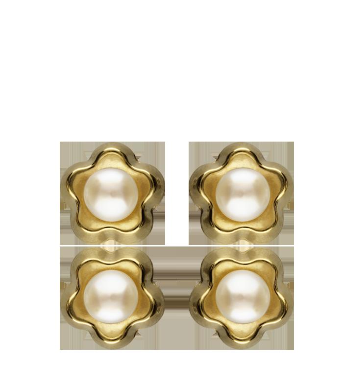 Pendientes Flor Oro 18K y Perlas Cultivadas