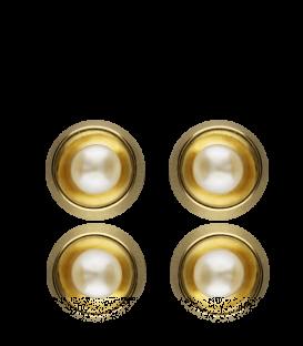 Pendientes Redondos en Oro de 18K Amarillo con Perlas cultivadas