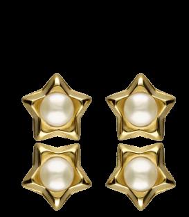 Pendientes Estrellas Oro de 18K Amarillo con Perlas cultivadas