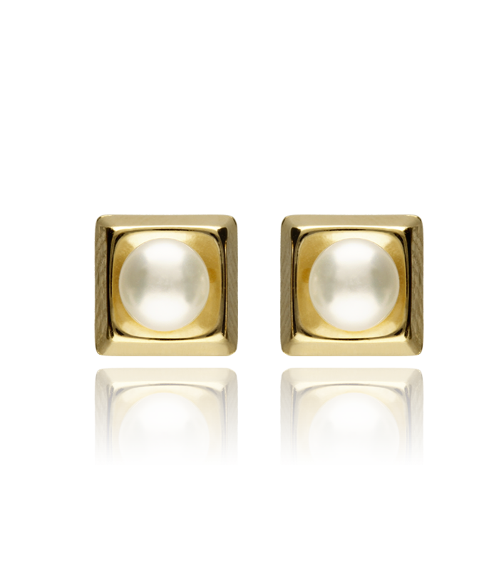 Pendientes Cuadrados Oro 18K Amarillo con Perlas Cultivadas