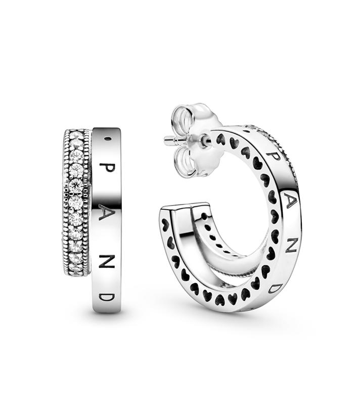 Pendientes Pandora en plata de ley Aro Doble en Pavé 299056C01
