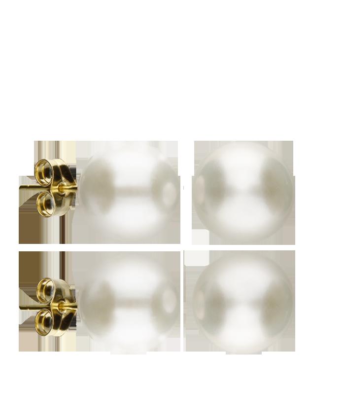 "Pendientes ""Pearl"" Oro Amarillo 10-10.5 mm"