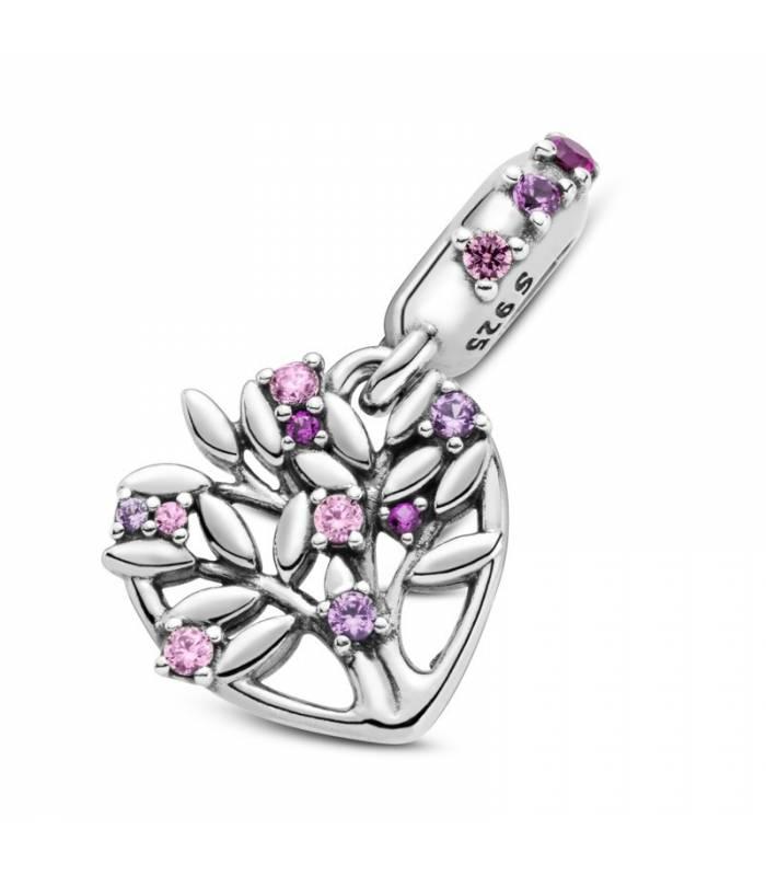 Charm colgante en plata de ley Corazón Árbol de la Vida Rosa 799153C01