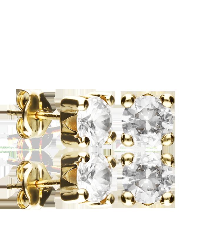 Pendientes Oro 18k con circonita en garra