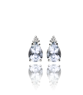 """Pendientes """"Petite Tear"""" Oro Blanco y Diamantes 0.05 cts"""