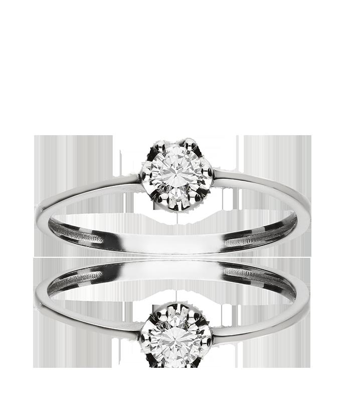 """Anillo """"Sun"""" de oro blanco con diamante"""