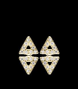 Pendientes Triángulo Dorados con Circonitas en Plata Primera Ley