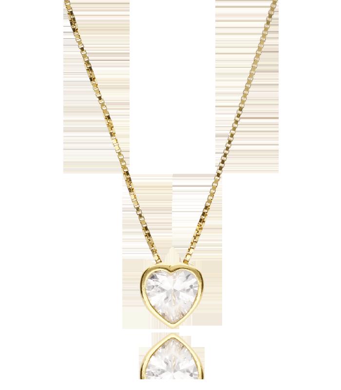 Gargantilla Mini Corazón con circonita en Plata de Ley