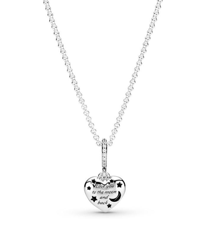 Collar Pandora plata de ley Luna Azul Brillante y Estrellas 399232C01-50