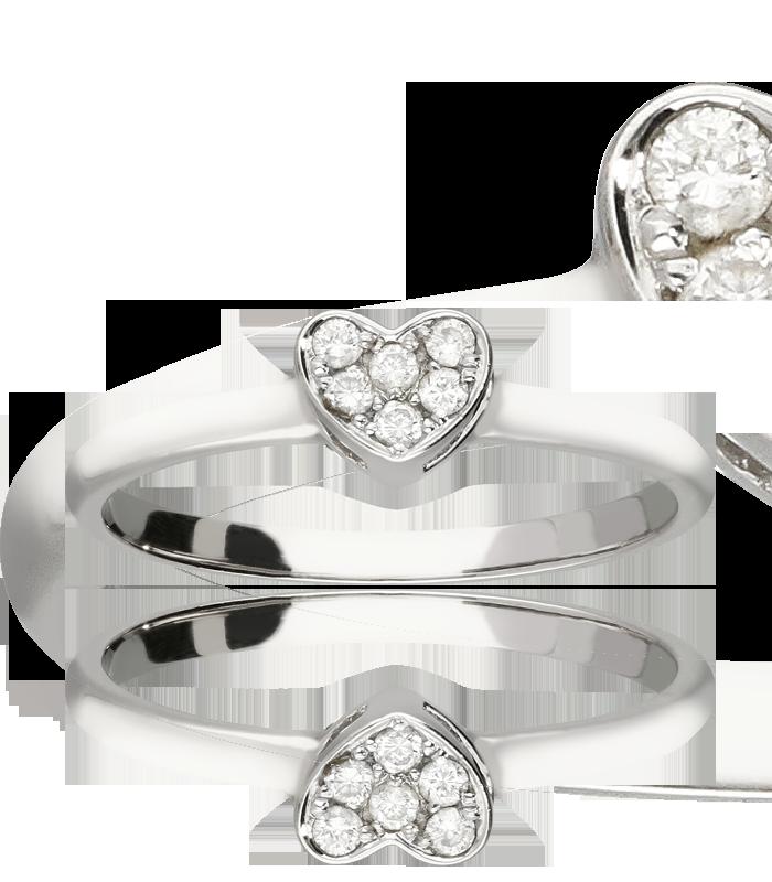 "Anillo ""Indi Heart"" Oro 18k Blanco con diamantes 0.08 cts"