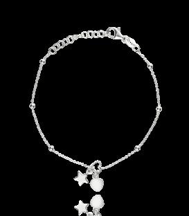 Pulsera Doble Corazón con Estrella en Plata de Primera Ley