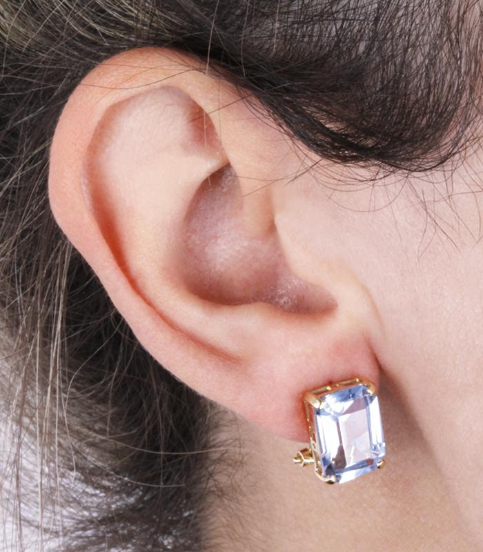Pendientes Fractal de Oro 18k con Piedra Azul Cierre Omega