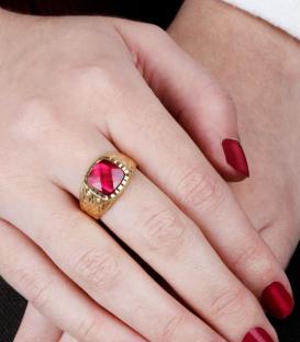 Sello Oro 18k tallado Piedra rosa