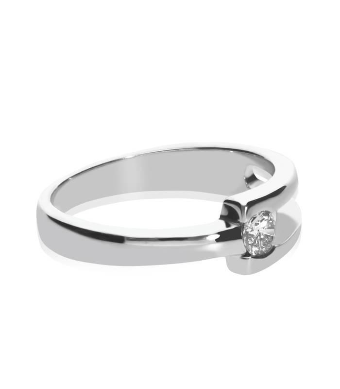 """Anillo """"Ferrara"""" Oro Blanco 18k y Diamante 0.25 cts"""